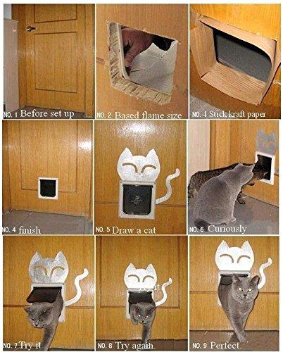 YiFeng 4 Way Lockable Cat Flap Pet Door (Medium, Brown) by YiFeng (Image #6)