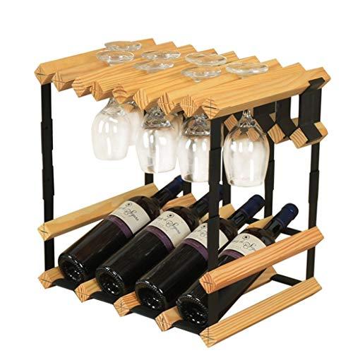 Barrel Glass Cabinet - DUDDP Wine Holder Freestanding Wine Rack Wine Bottle Pine Wooden Barrel 4 Bottles Hanging Wine Glasses Rack Stand Metal Steel Wood Cabinet Bottle Holder Countertop Dispaly Shelf for Home Bar Fully Ass