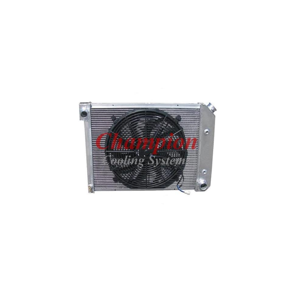 3 Row All Aluminum Replacement Radiator AND 16 Reversible Fan with Fan Mounting Kit for the 1972 1981 Chevy Camaro (Engine applications 3.8l 229 V6, 3.8l 231 V6, 4.1l 250 L6, 4.4l 267 V8, 5.0l 305 V8, 5.0l 307 V8, 5.7l 350 V8)   Manufactured by Champion