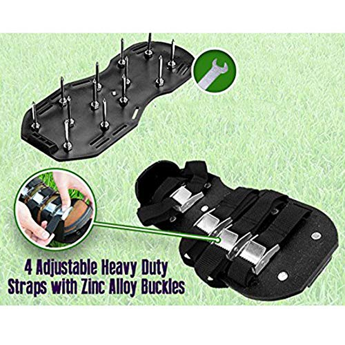 Upgraded Lawn Aerator Shoes Heavy Duty Spiked Aerating Lawn Sandals With 4 Heal Adjustable Metal Buckles Straps&1x Heal Elastic Design for Aerating Garden Yard(Gift:3 Pieces Garden Mini Tools Set) by HOTINS (Image #4)