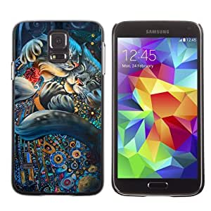 Designer Depo Hard Protection Case for Samsung Galaxy S5 / Cute Cat Psychedelic Pattern