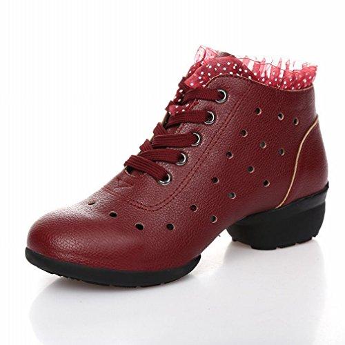 BYLE Sandalias de Cuero Tobillo Modern Jazz Samba Zapatos de Baile Zapatos de Baile Cuadrado Verano Suave Transpirable Zapatos de Baile de Desgaste Inferior 39