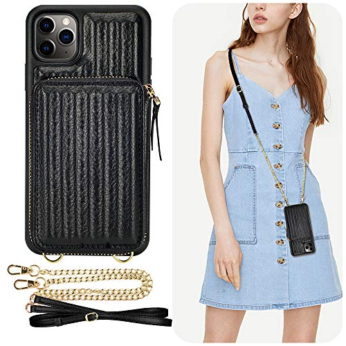 iPhone 11 Pro Max Wallet Case, iPhone 11 Pro Max Crossbody Case, ZVEdeng iPhone 11 Pro Max Zipper Case with Card Holder Leather Crossbody Bag Trunk Box Shaped-Black