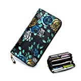 Long Genuine Leather Wallets for Women Girls Long 3D Stereo Genuine Leather Billfold Wallets 8 card slots,2 bill pockets, 2 cash pockets, 1 zipper pocket and 1 compartment for phone Gold ROSE