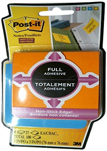 3M MMMF3304SSAUC Post-It Super Sticky Full Adhesive Notes-100-3x3-Electric Yellow, Neon Pink, Electric Blue, Limeade-Self-Adhesive, Removable-4/Pack S.P. Richards CA