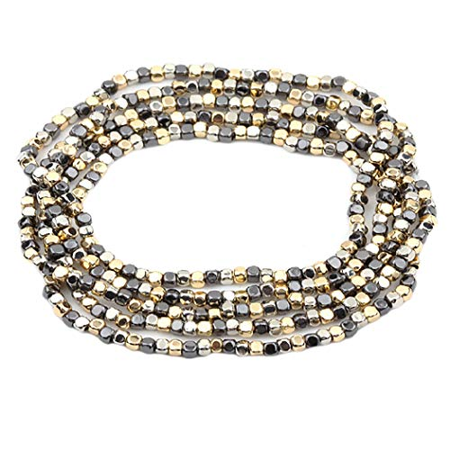 Rosemarie Collections Women's Tri Tone Beaded Stretch Bracelet Set of 5 (Gold/Hematite/Silver Tone) (Tone Hematite Bracelet Stretch)