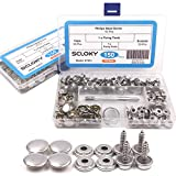 """150 Pcs Snaps Fastener Screw Snaps, Heavy Duty Metal Snaps Button for Boat Canvas with 2 Pcs Setting Tool by Seloky, 50 Sets(Marine Grade, 3/8"""" Socket, 5/8"""" Screw)"""