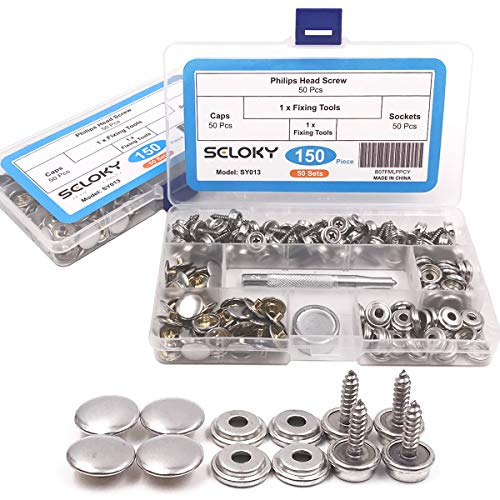 150 Pcs Snaps Fastener Screw Snaps, Heavy Duty Metal Snaps Button for Boat Canvas with 2 Pcs Setting Tool by Seloky, 50 Sets(Marine Grade, 3/8