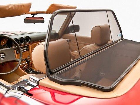Mercedes 380sl, 450sl, 560sl Model 107, 1972 to 1989 Wind Deflector. Wind Deflectors Go By Many Names : Wind Screen, Windscreen, Windstop, Wind Blocker, and Wind Jammer