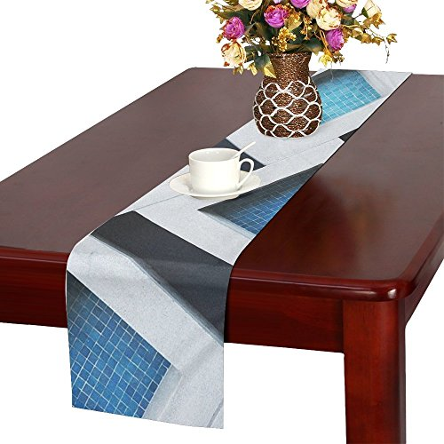 QYUESHANG Pattern Patterns Tiles Squares Colorful Table Runner, Kitchen Dining Table Runner 16 X 72 Inch For Dinner Parties, Events, Decor