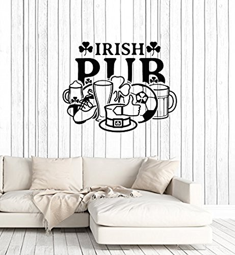 Vinyl Wall Decal Irish Pub Sign Window Ireland Symbol Bar Decoration Art Stickers Mural Large Decor ()