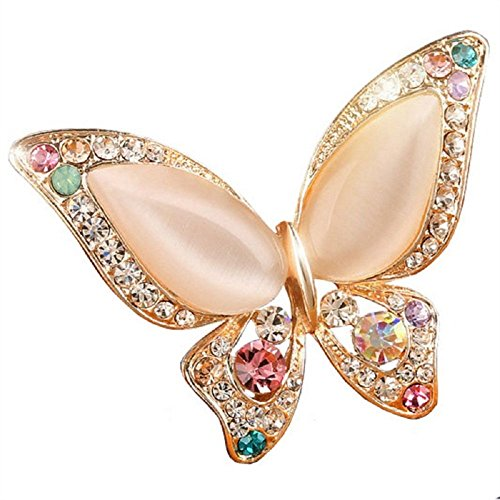 Trifari Clear Rhinestone (Cat Eyes Colorful Clear Crystal Rhinestone Butterfly Brooch Scarf Buckle Lapel Pins Dual-use Female)