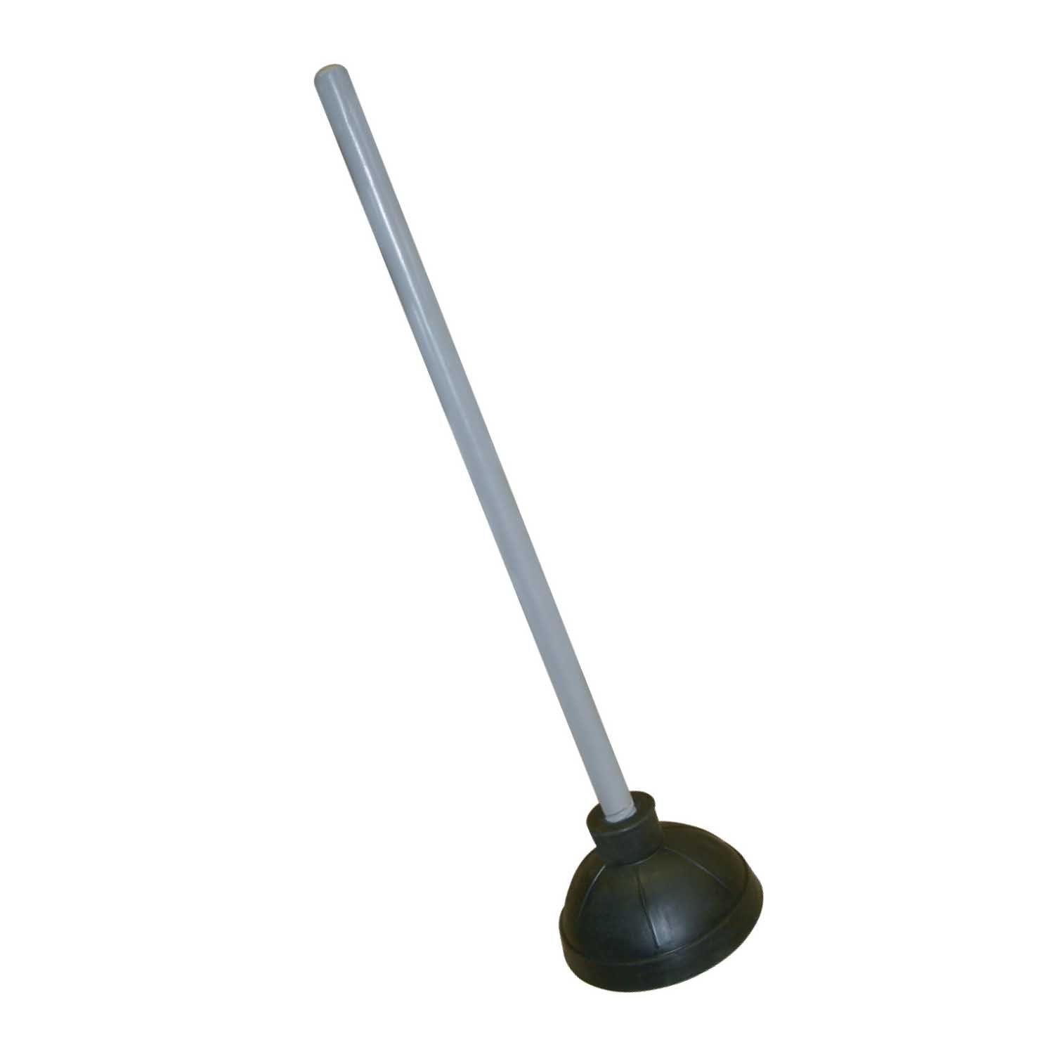 Excellante Plastic Plunger with 21-Inch Long Wooden Handle, Black