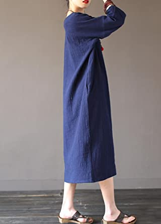 7643599bc96784 MatchLife Damen Kaftan Tunika Kleid Maxi Leinenkleid Mittelalter lang Kleid:  Amazon.de: Bekleidung