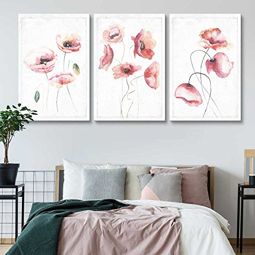 wall26 - 3 Panel Canvas Wall Art - Drawn Watercolor Poppy Flowers Artwork - Giclee Print Gallery Wrap Modern Home Decor Ready to Hang - 16