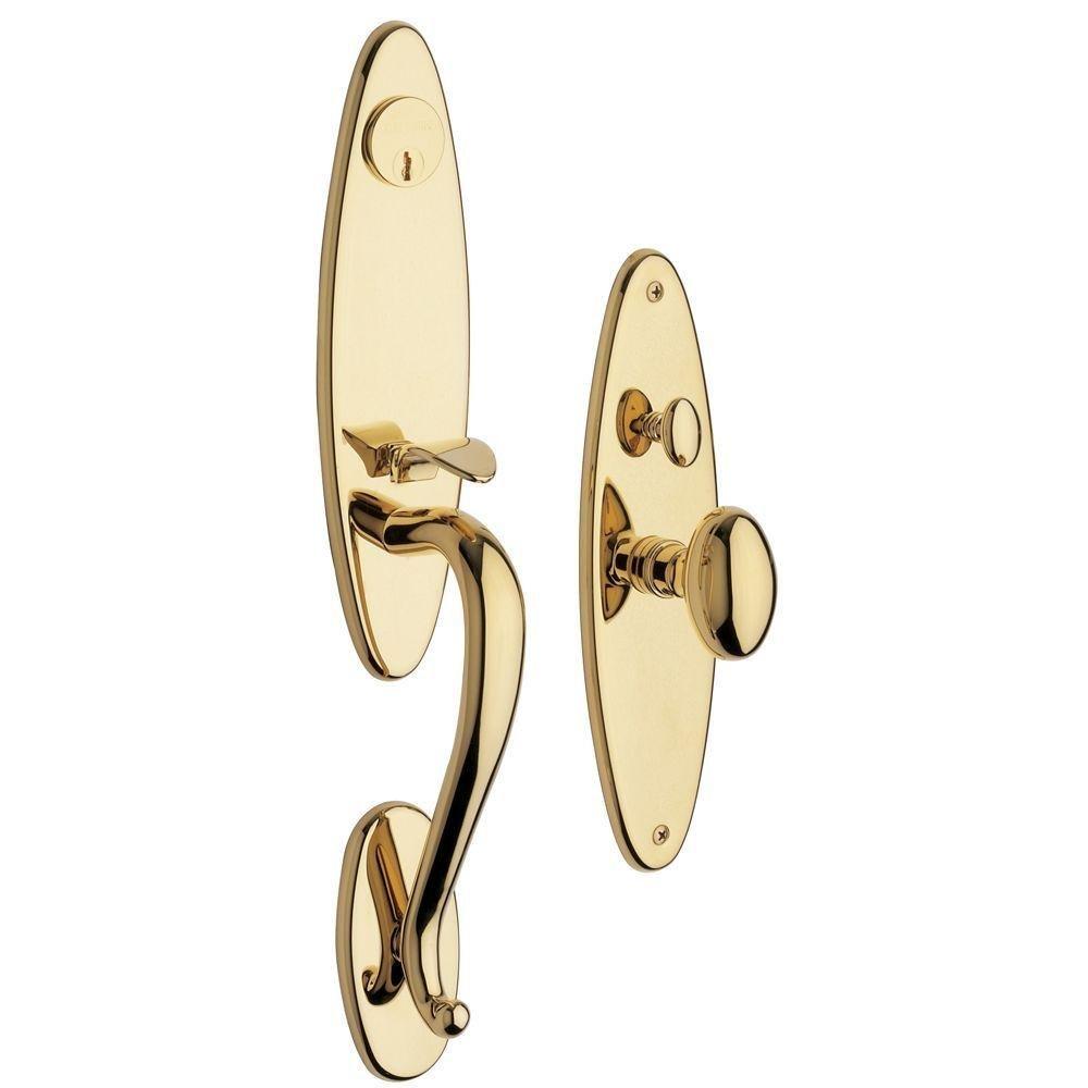 Baldwin 6573.003.ENTR Springfield Single Cylinder Mortise Handleset Trim Set, Lifetime Polished Brass
