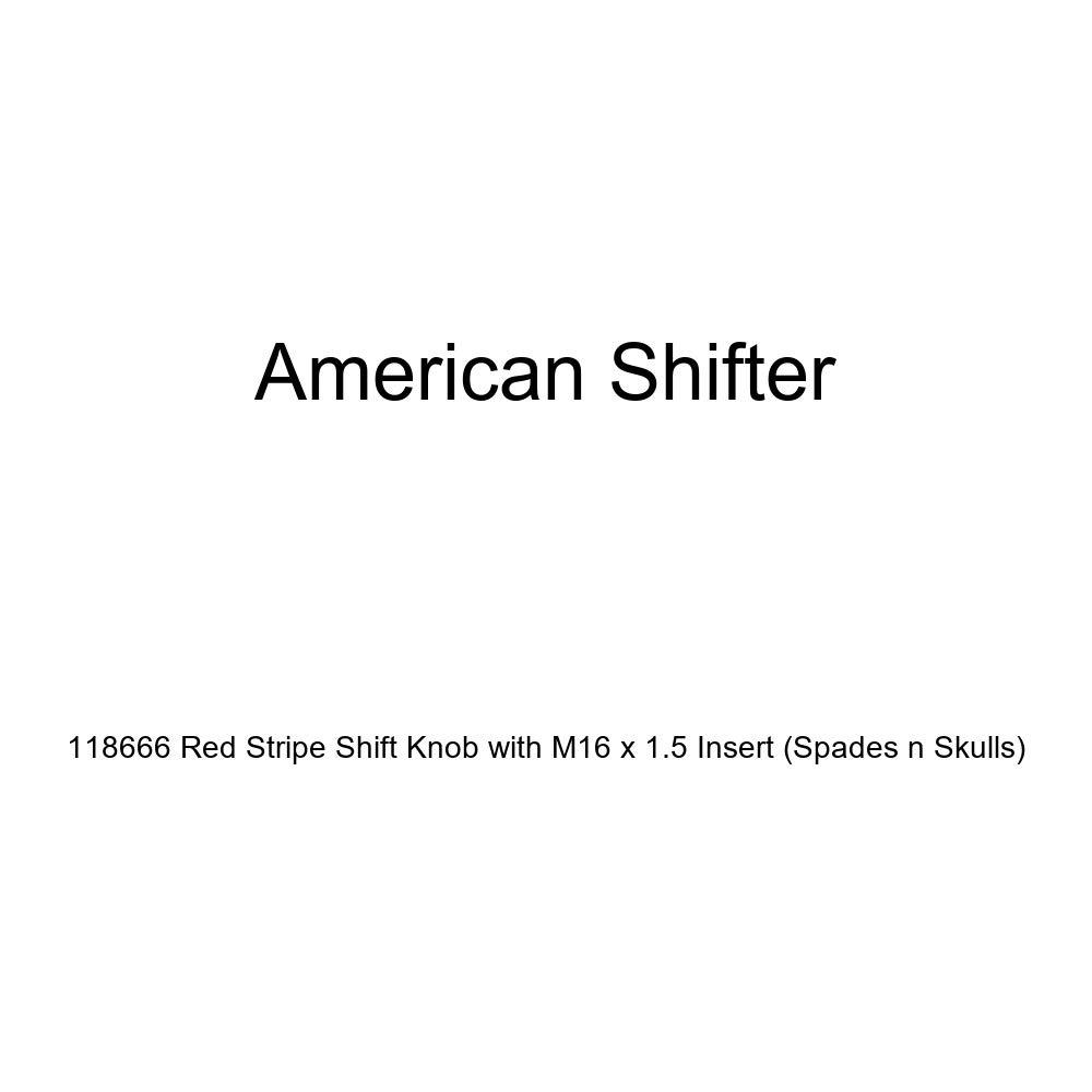Spades n Skulls American Shifter 118666 Red Stripe Shift Knob with M16 x 1.5 Insert