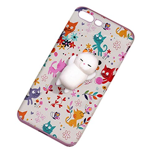 Pinzhi Netter Karikatur-Telefon-Kasten für iPhone 6 Plus, iPhone 6s Plus 3D Netter Weicher Silikon-Pappy Squishy Katze