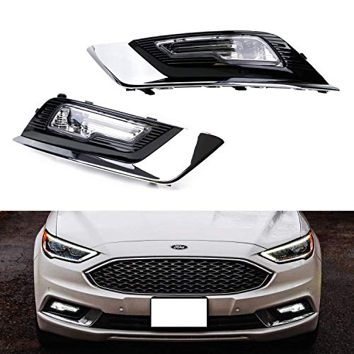 iJDMTOY LED Fog/Driving Lamp Kit For 2017-up Ford Fusion, OEM-Spec High Power LH RH LED Assembly w/Foglamp Bezel Covers & On/Off Switch Wiring ()