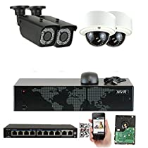 GW 8 Channel 1920 NVR Video Security Camera System - 2 x Bullet & 2 x Dome 5MP 1920P Weatherproof 2.8-12mm Varifocal Bullet Cameras, Realtime Recording 1080p @ 30fps, Pre-Installed 2TB HDD