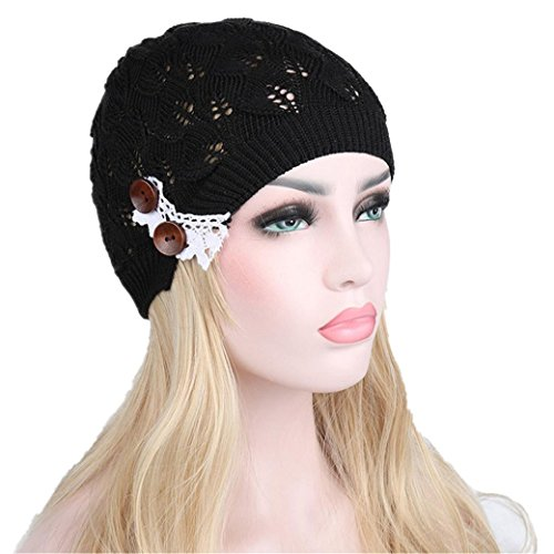 Elevin(TM)Women Winter Flower Indian Stretch Turban Hat Cancer Chemo Cap Hair Scarf Headwrap (Black (Acrylic Peak Beanie)