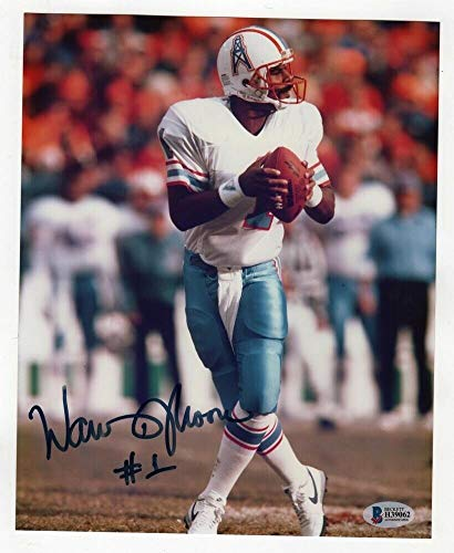 - Warren Moon Signed Photo 8x10 Autographed Houston Oilers Beckett BAS H39062