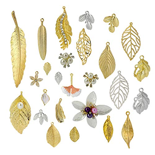 (ZIIYAN 52Pcs Different Style Gold/Siliver Plated Metal Leaf Shape Charms Pendant Crafting Jewelry Findings Making Accessory for DIY Necklace Bracelet)
