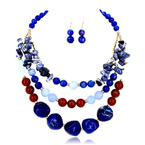 Comelyjewel Fashion Jewelry Girls Resin Stone Beads Statement Women Necklace and Earrings Set (Blue Brown)