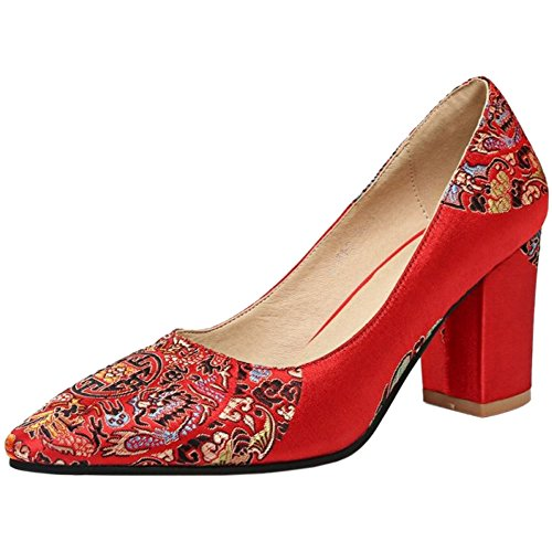 980 Brides Sandals Point Red TAOFFEN Heel Block Wedding 7 Closed Women 5cm Pumps Elegant Toe 4gFgPCqx