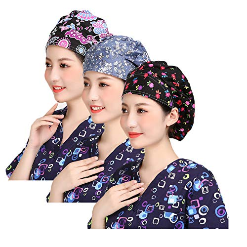 Nothar 3pc Women's Adjustable Scrub Cap Sweatband Bouffant Hats Value Set