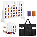 Smartxchoices Wood 4 in a Row Backyard Family Fun Game Set, Line Up 4 Game with Carry Case, Coins for Outdoor/Indoor, Parties,Travel - 2Ft