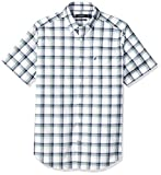 Nautica Men's Big and Tall Short Sleeve Wrinkle Resistant Lux Plaid Button Down Shirt, Clear Skies Blue, 2XLT