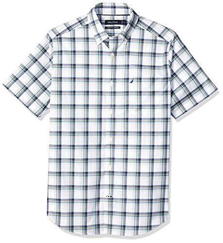 (Nautica Men's Short Sleeve Wrinkle Resistant Lux Plaid Button Down Shirt, Clear Skies Blue, Large)