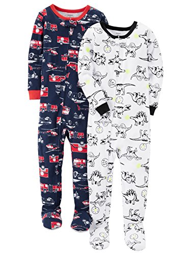 Carter's Baby Boys' Toddler 2-Pack Cotton Footed Pajamas, Fire Truck/Dino, 2T