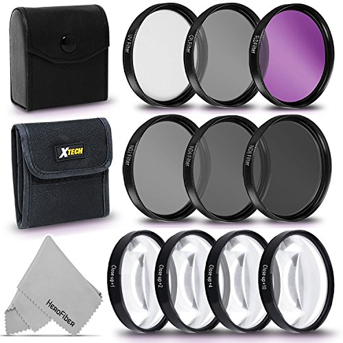 Ultimate 10pc 52MM Professional FILTERS KIT including: 52mm HD filters (UV CPL FLD) + 52mm ND Neutral Density Filters (ND2 ND4 ND8) + 52mm Close-up Macro Filters (+1 +2 +4 +10) + Filters Case by HeroFiber