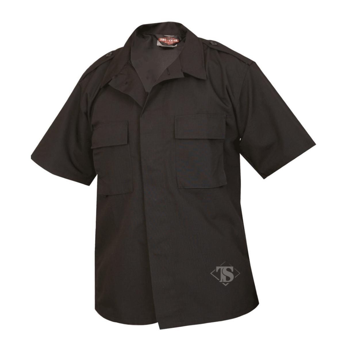 Black 2X-Large Regular ATLANCO 1000007 Short Sleeve Tactical Shirt