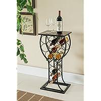 Kings Brand Furniture Metal with Marble Finish Top Wine Storage Organizer Display Rack Table