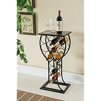 Marvelous Kings Brand Furniture Metal With Marble Finish Top Wine Storage Organizer  Display Rack Table