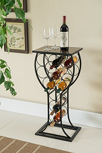(Kings Brand Furniture Metal with Marble Finish Top Wine Storage Organizer Display Rack Table)