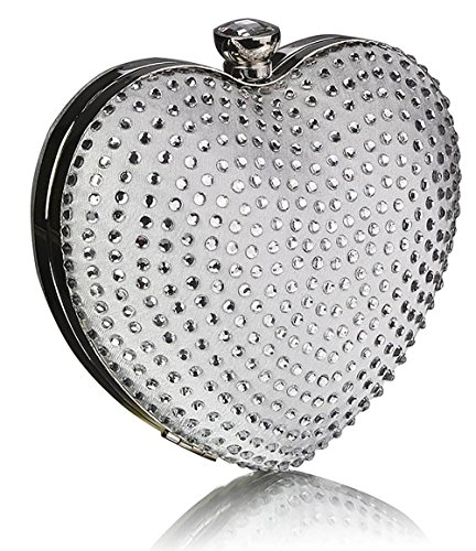 Diamante Evening Heart 1 Ladies New Stones Bag Newlook Luxury Handbag Clutch Party Design Ivory rEp40qrw