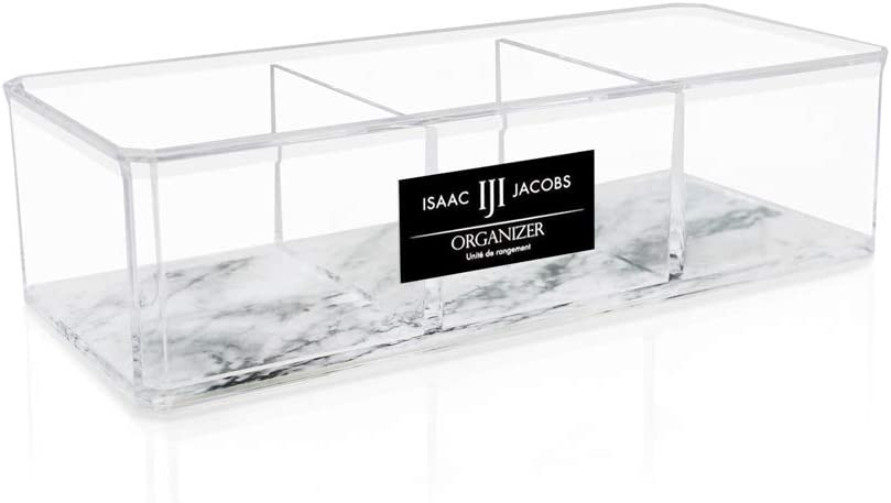 Isaac Jacobs Clear Acrylic 3 Section Organizer- Three Compartment Drawer Tray and Storage Solution for Office, Bathroom, Kitchen, Supplies, and More (Marble)