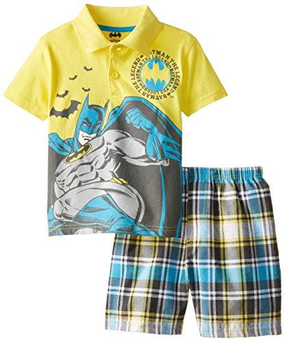 Warner Brothers Little Boys' Batman  Polo Woven Plaid Short Set, Yellow, 4