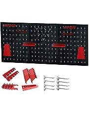 Juny Gereedschapsorganisator voor gatenwand, 120 x 60 x 2 cm, metalen gereedschapswand zwart en rood, met 17-delige haakset