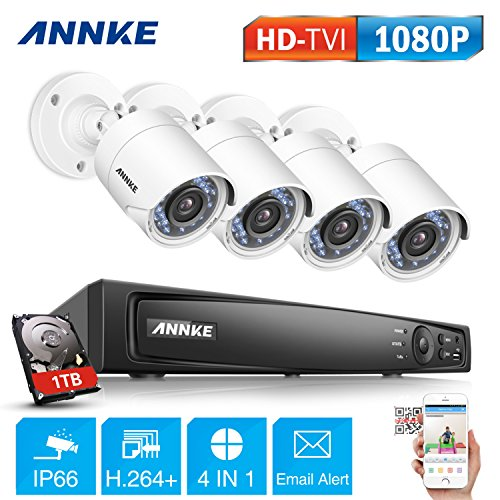 ANNKE 1080P Security Camera System H.264+ DVR Recorder with 1TB HDD Pre-installed and (4) 2.0MP 1920TVL Weatherproof Bullet Cameras, Advanced Smart Search Playback, Remote Access Anytime Anywhere
