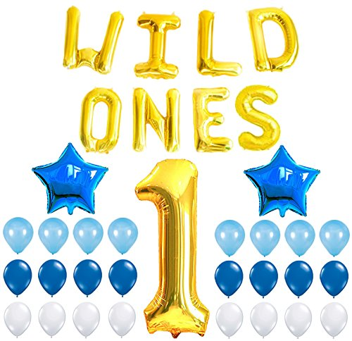 WILD ONES BIRTHDAY DECORATION KIT - Blue and White Balloons Set, Perfect for 1st Bday Party Supplies, Girl or Boy, Number 1 Mylar, Latex (1st Bday Party Themes)