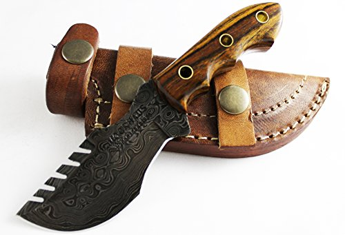 Mini Tracker Knife – Moorhaus Handmade Damascus – Bocote Wood Handle – Includes Leather Sheath