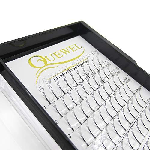 Quewel Lash Russian Volume Eyelash Extensions 3D 5D C D Curl 8-15mm Long Thickness 0.07/0.10 mm Premade Fans Volume Eyelashes Soft (5D-0.07-C, 15mm)