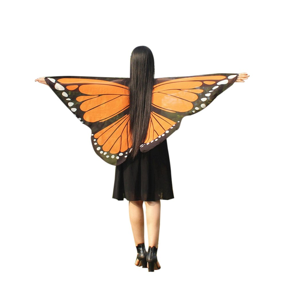 Women Party Cosplay Costume Bohemian Butterfly Print Shawl Pashmina Wings Accessory Orange