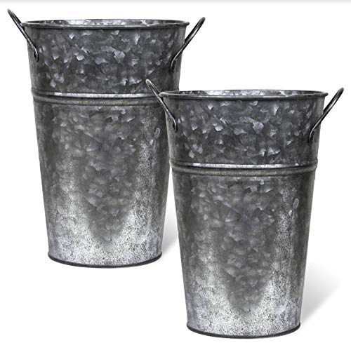 Arbor Lane Rustic Metal Flower Vase - 8 Inches Tall - French Bucket, Farmhouse Style - Set of 2 - Pewter Vases