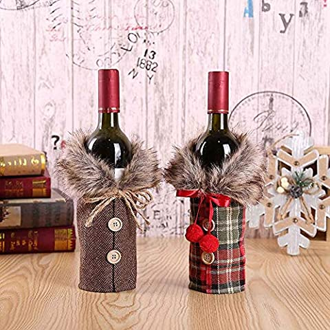 2pcs Christmas Sweater Wine Bottle Cover, Newest Collar & Button Coat Design Wine Bottle Sweater Wine Bottle Dress Sets…